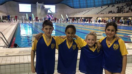 ISA national swimmers Joseph Mikolajczyk, Selina Green, Rosie Taggart and Sophia Weaver from Ursuli