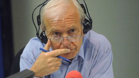 John Humphrys, in the radio studio, during a broadcast of Today, the flagship programme on BBC Radio