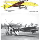 Top, Handley Page monoplane Type E HP5 also known as E/50 nicknamed 'Yellow Peril'. Below, Ken Tro