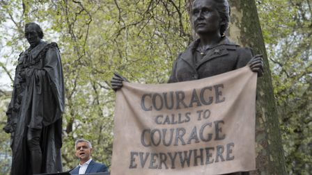 The statue of suffragist leader Millicent Fawcett, in Parliament Square, London. Picture: PA