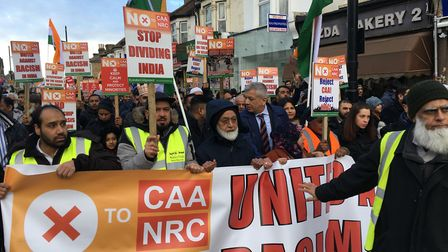 Protesters filled one lane of Green Street as they marched towards East Ham's Central Park. Picture: