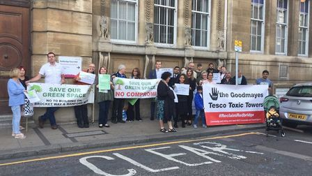 Manford Way campaigners outside Redbridge Town Hall on September 20, putting forward a petition whic