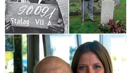 Harold, in 1941 prisoner 90091 at Stalag VIIA, in 2004 at the grave of Harry Jassby and in 2012 with