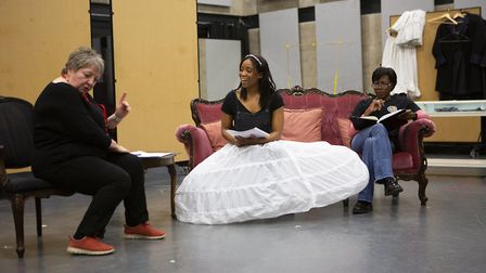 Joanna Brooks, Shannon Hayes and Donna Berlin iin rehearsals for The Gift. Picture: Ellie Kurtz