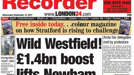 A Newham Recorder front page from 2011. Picture: Archant