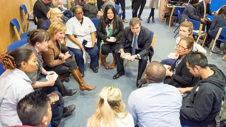 Philip Dunne, then health minister, visited Queen's Hospital's trainee nursing associates in 2017. P