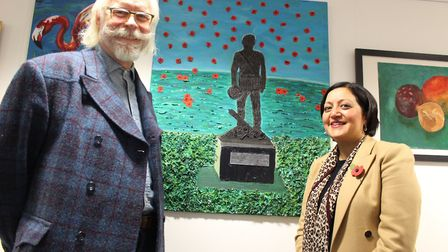 Fine art class teacher Jonathan Waller with Newham Mayor Rokhsana Fiaz at the opening of the Forest