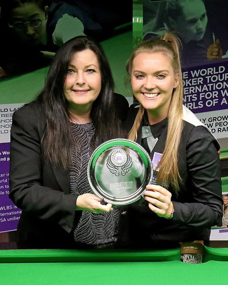 Emma Parker snooker player from Hornchurchwith MandyFisher the president of the World Women's Snooke