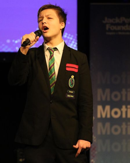 Hall Mead student Cameron Blaauw wowed the audience with his rendition of My Way. Picture: JPF