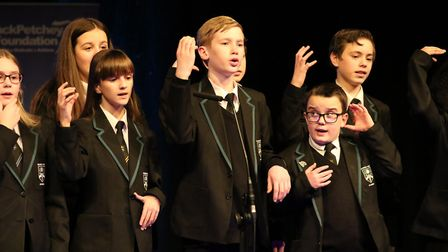 The Bower Park Academy choir performed the song Can You Hear Me? by Bob Chilcott, complete with sign