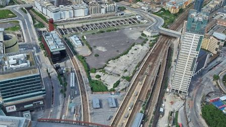 The site off Angel Lane where the huge entertainment hub could be built. Picture: Google Satellite