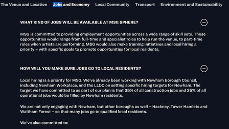 "MSG's website says it is still ""committed"" to having at least 35 per cent of jobs go to Newham resid"