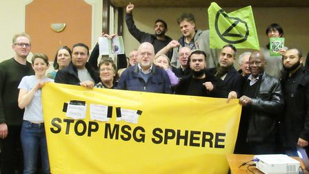 Opponents of the MSG Sphere, including members of the Stop MSG Sphere campaign. Picture: Hannah Some