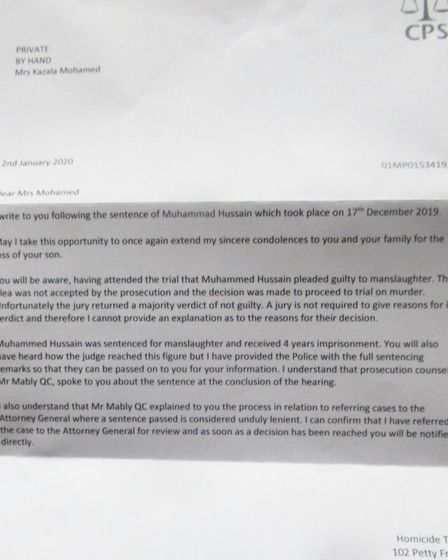 The Crown Prosecution Service wrote to the family at the start of this year, confirming the case wou