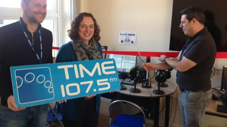 Headteacher, Mrs Sansom with chairman of the Friends of Branfil and Time FM's Mark Dover. Picture: J