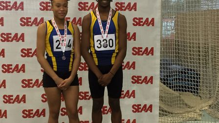 Havering silver medalists Paris King and Jacob Blanc at the South of England indoor champs