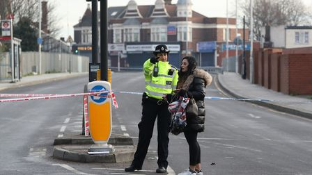 A police cordon remains in place at Seven Kings High Road. Picture: PA