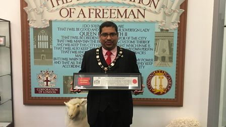 Newham Councillor Nazir Ahmed was admitted to the Freedom of the City by the Chamberlain's Court at