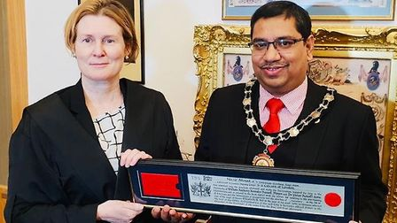 Chamberlain's Court deputy clerk Laura Miller with Newham Councillor Nazir Ahmed at the ceremony at