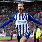 Brighton and Hove Albion's Glenn Murray celebrates scoring his side's third goal of the game during