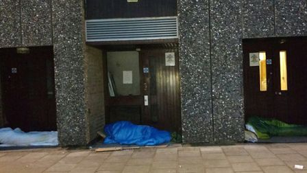 Rough sleepers at the Kenneth More Theatre. Picture: Paul Canal