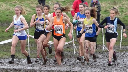 Havering's Kate O'Neill is up with the leaders on her way to seventh at the National cross country c