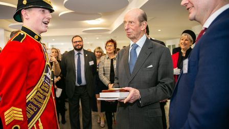 The Duke of Kent and band drum major Jack Whiting. Picture: Brentwood Borough Council