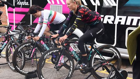 Aviva Women's tour cyclists at Dunston Hall preparing for the event. Elena Cecchini, left, and Hannah Barnes of the Canyon...