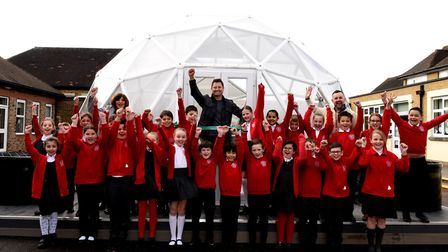 Pupils at Squirrels Heath Junior School celebrate the opening of their school biodome by George Clar