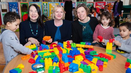 Cllr Jane Lofthouse, deputy mayor of London Joanne McCartney and Cllr Julianne Marriott with staff a
