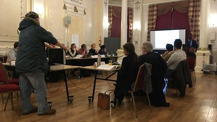 Guilio Zicchi, standing, at Newham Council's strategic development committee meeting at Old Town Hal