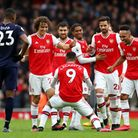 Arsenal's Alexandre Lacazette (centre) celebrates with team-mates after his side's first goal of the