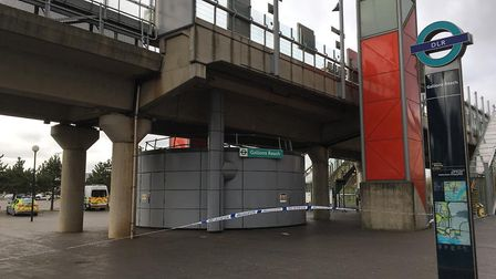 Gallions Reach DLR station was taped off for most of the day. Picture: Jon King