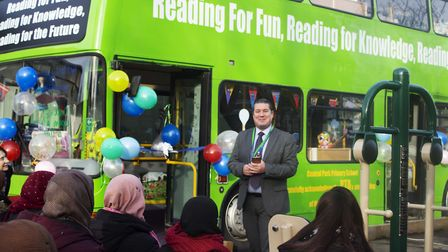 Executive headteacher Darren Williams speaks at the launch of the reading bus at Central Park Primar