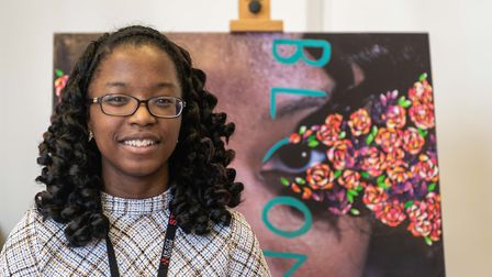 New City College student Toni-Ann Robertson at the Homeland exhibition. Picture: New City College