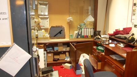 The hole in the wall of the jeweller's office. Picture: Met Police
