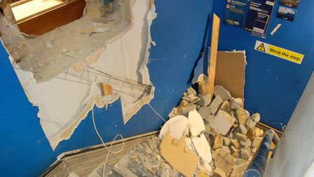 At first the men drilled a hole into the bookmakers by mistake. Picture: Met Police