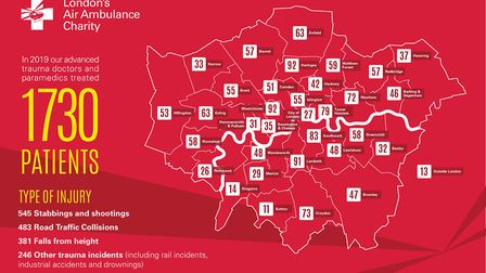 Number of call-outs to the London Air Ambulance in London boroughs in 2019. Picture: London's Air Am