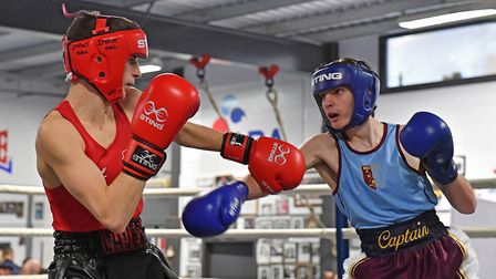 West Ham's Finlay James hits out on his way to a England Boxing Youth Championship title (pic Andy C