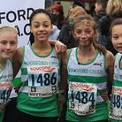 Woodford Green under-13s at the National Cross-Country U13 Girls (L to R): Molly Sherin, Abigail Rei