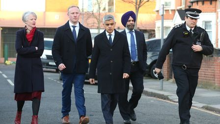 Mayor of London Sadiq Khan (centre) in Seven Kings last month, where three people died after being s
