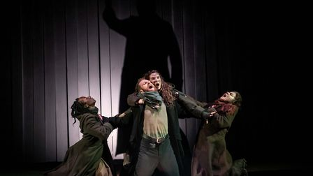Danielle Kassarate, Paul Tinto, Colette McNulty and Connie Walker in Macbeth. Picture: Mark Sepple
