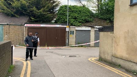 """Police officers in a taped off area near Seven Kings Mosque following an incident last year when a """""""