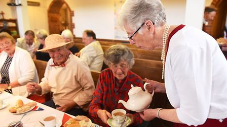 A tea party was held at St Bartholomew's Church in Corton to celebrate the Queen's 90th birthday. Pi