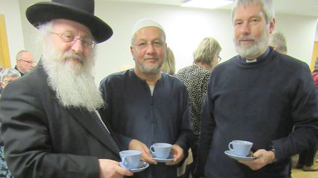 The leaders of the East LondonThree Faiths Forum Rabbi David Singer, Mohammed Omer and Rev Canon Ian