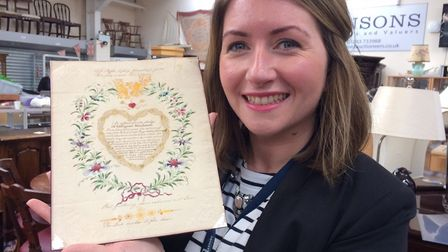 Hansons valuer Isabel Murtough holds the Valentine. Picture: Hansons