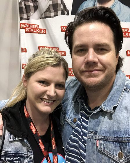 Ella Glaesener, who battled to get a refund from the organisers, with actor Josh McDermitt. Picture: