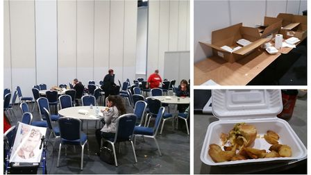The VIP room at last year's Walker Stalker Con at the ExCel and, right, lunches provided to fans who