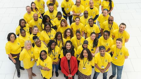 Newham Mayor Rokhsana Fiaz with youth workers recruited by the council. Picture: Newham Council