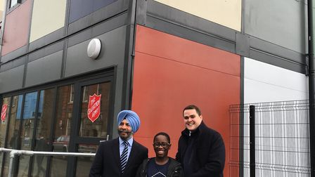 Councillor Jas Athwal, Malachi Justin and Salvation Army Captain Dr John Clifton at the soft opening